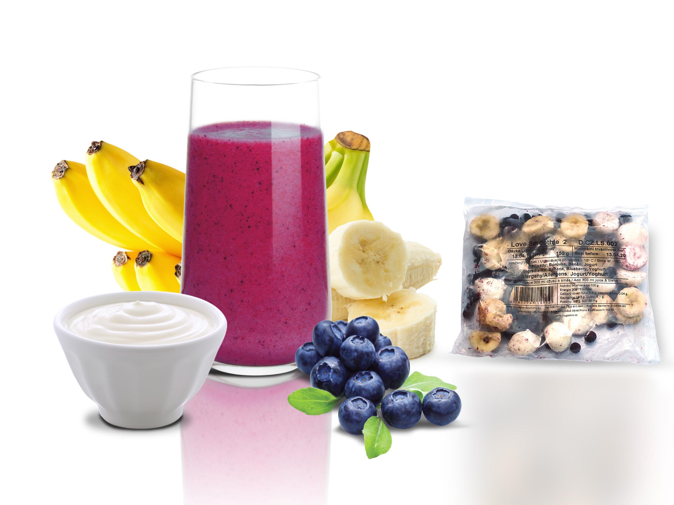 Smoothies 2 - banán,borůvka, jogurt