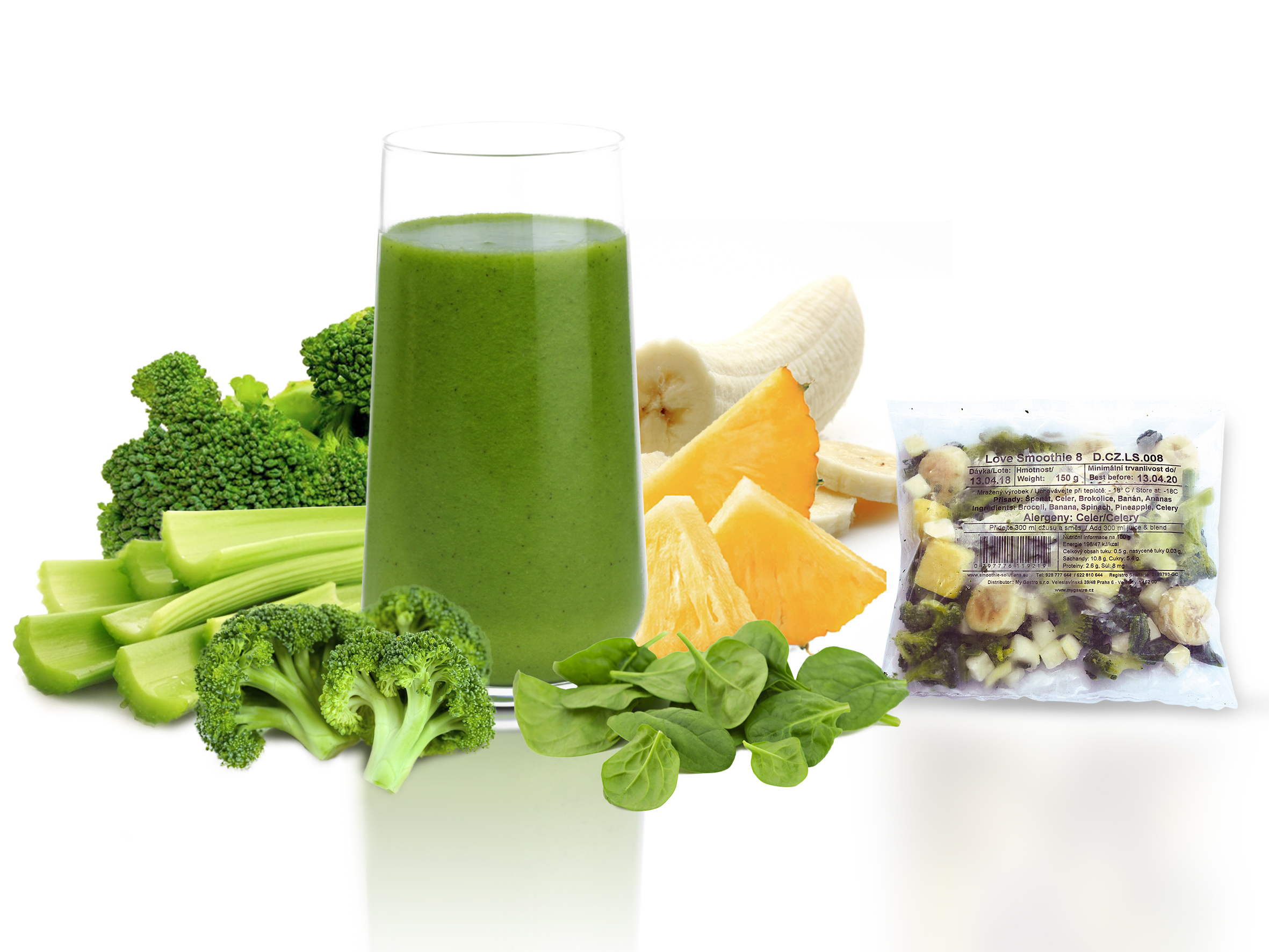 Smoothies 8 - brokolice, ananas, špenát, banán, řap. celer